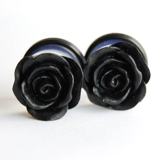 """5/8"""" (16mm) Black Rose Flower Plugs for stretched ears."""