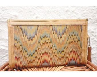 VinTaGe Ikat Zig Zag Wristlet Clutch Bag Purse Handbag Elbow Chevron Flamestitch Retro Mod Zigzag Dove Holiday Gift Sale Vegan Leather Vinyl