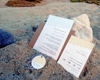 Yellow and Blue Chevron Bali Destination Wedding Invitation Set
