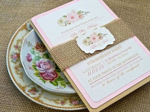 Burlap Pink Champagne Blush English Rose Wedding Invitation Set