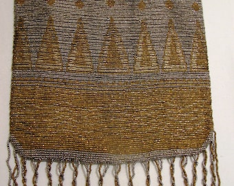An Art Deco Antique Micro Beaded Purse in Golds and Silvers