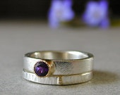 Amethyst Ring, Stacking Rings, Sterling Silver Rings with 14kt Gold, Minimalist