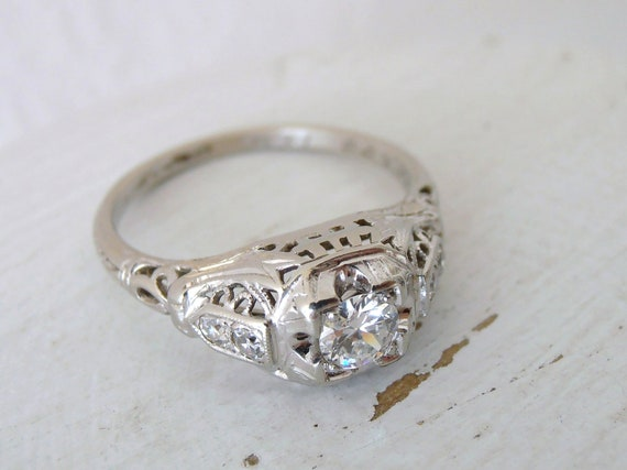 Reserved, First Payment, Vintage Edwardian Diamond Filigree Engagement Ring