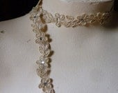 GOLD Beaded Lace Trim with Rhinestones for Lyrical Dance, Bridal,  Headbands, Costume Design BL 4031