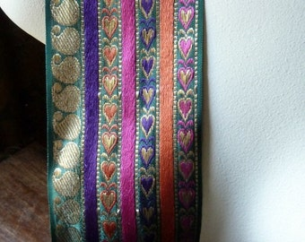 Embroidered Ribbon Trim in Multi Paisley and Hearts for Tribal Fusion, Bellydance, Jewelry or Costume Design, Home Decor  TR 230