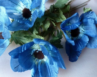 BLUE Poppies Vintage German Silk Millinery for Hats, Costumes, Headbands, Bridal MF7