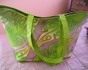 LIME Plastic Retro Design Tote bag Carry All LEAVES Design