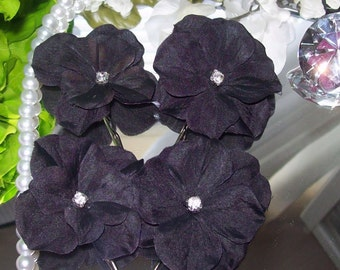 Black Hair Flowers,Black Wedding,Broda, Hair Flower,Bridesmaid Hair Flower