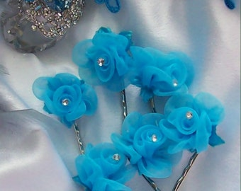 Wedding Sale,Bright Blue Hair Flower,Wedding,Bride,Bridal,Bridesmaid Hair Flower,Bright Blue Wedding,Somesthing Blue