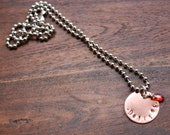 FREE TODAY, Copper or Brass Beaded Stamped Necklace- Made to Order