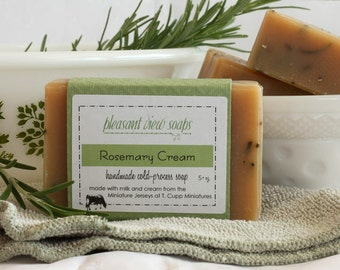 Rosemary Cream Soap Cold-Process Bar with Jersey Milk