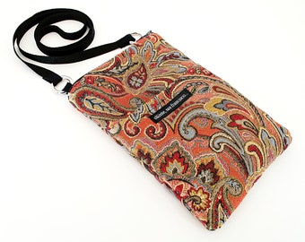 SALE! Mini Hip in heavy woven Paisley tapestry fabric. Wallet, phone, keys carrier. Small travel bag, zippers, epi pen, insulin.