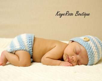 Newborn Baby Boy Hat & Diaper Cover Set Light Blue and White Stripes