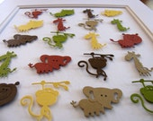 INVENTORY CLEARANCE 3D Jungle Animals Collage 8x10. Monkey. Giraffe. Lion. Elephant. Yellow. Brown. Green. Rust. Taupe. No Custom Orders