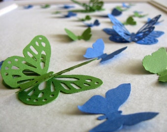 Blue Green 3D Butterfly Art or YOU CHOOSE 2 Colours. Paper Butterfly Art. Butterfly Wall Art. 8x10 inches. Made to Order