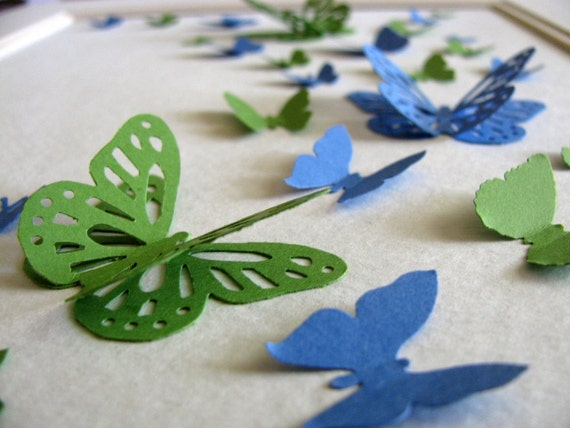 Royal Blue Emerald Green 3D Butterfly Art or YOUR CHOICE of 2 Colours / Paper Butterfly Wall Art / 8x10 inches / Made to Order