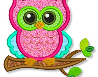 OWL on a BRANCH Applique 4x4 5x7 6x10 7x11 Machine Embroidery Design  INSTANT Download