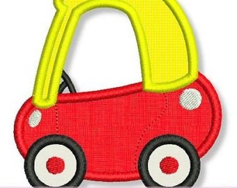 Little COUPE CAR Applique 4x4 5x7 6x10 7x11 Machine Embroidery Design boy girl  INSTANT Download