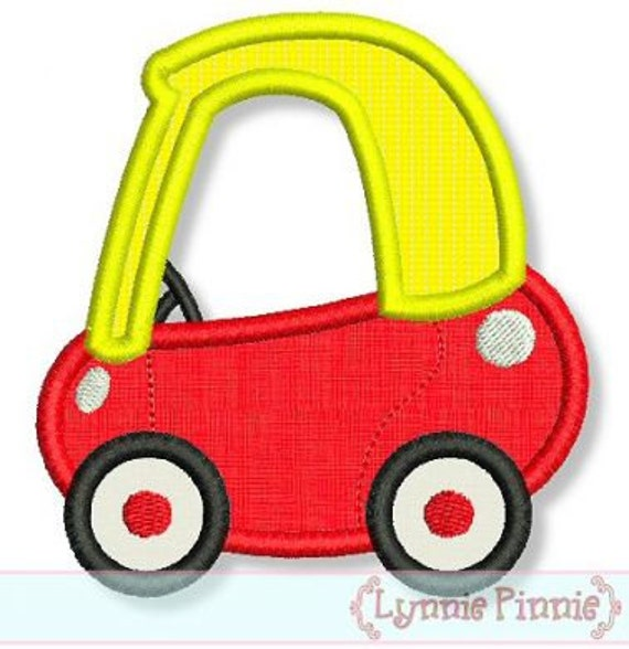 Italian Boy Name: Little COUPE CAR Applique 4x4 5x7 6x10 7x11 Machine Embroidery