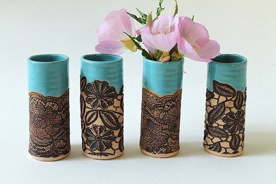 Handmade Turquoise Mini Vase in Daisy Lace Pattern