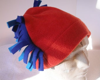 Burnt Orange Fleece  Warm Hat, Turquoise and Royal side Fringed Hat, Winter Hat. Boys Rocket hat.