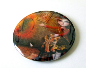 Ring of Fire Pocket Mirror With Organza Bag Made From Original Art Print  2 1/4 inches