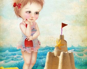 "Fine Art Print ""Samantha at the Shore"" 8.5x11 or 8x10  - Cute Little Girl at the Beach with Sand Castle Summer Fun Nautical"