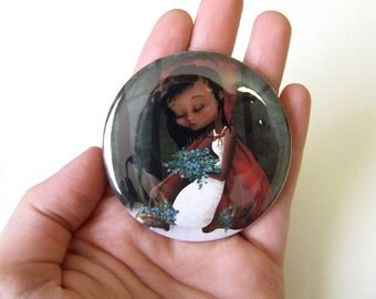 "Pocket Mirror ""Red Riding Hood"" 2 1/4"" Round Compact Mirror - Fairy Tale Little Red Cap Dark Blue African American Girl"