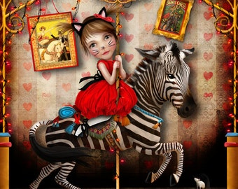 "Art Print - ""Carousel Dreams"" - Medium or Large Print 11x17 or 13x19 Fine Giclee Art Print - Zebra Carousel Horse Art"