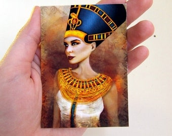 "ACEO ATC Artists Trading Card - ""Nefertiti"" - Ancient Egyptian Queen Mini Giclee Fine Art Print 2.5x3.5"""