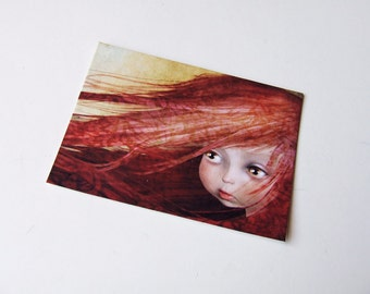 "ACEO/ATC Mini Fine Art Print ""Fall"" Artist Trading Card 2.5x3.5 - Lowbrow Art Print of Little Girl Original Artwork by Jessica Grundy"