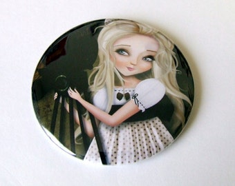 Simona and her Dreams II Pocket Mirror Made from Original Painting with Organza Bag