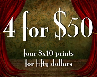 Special Savings - Four 8x10 Giclee Art Prints - Save on Multiple Prints - Any four of my illustrations Medium Size