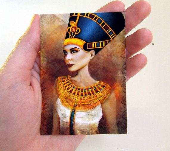 "ACEO ATC Artists Trading Card - ""Nefertiti"" - Ancient Egyptian Queen Mini Giclee Fine Art Print 2.5x3.5"""