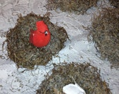 SALE - Birds Nest Set of 3 Christmas Decoration Rustic Primitive Moss