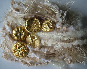 SAND & SPARKLE Specialty Fiber Yarn Bundle and buttons - Scrapbooking, Altered Arts, etc. - 5 or more bundles 10% off