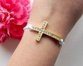 sideways cross bracelet - sideways cross charm with rhinestones on white silk cord - arm candy - friendship bracelet - bohemian jewelry