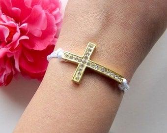 sideways cross cross bracelet - women's gift - rhinestones bracelet on silk cord - friendship bracelet - bohemian jewelry - gift for her