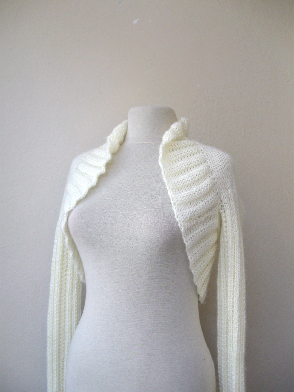 Ivory shrug bolero knit mohair 3/4 sleeve or long sleeves Fall