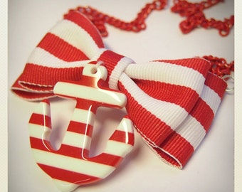 Old School Pin Up -Style Sailor Necklace with red striped Anchor