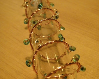 Copper Wire Wrapped Bud Vase-Bluish Beads