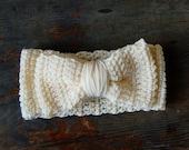 Cream Bow Headband / Earwarmer