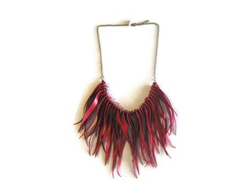 Gypset Leather Jewelry. Red Suede Fringe  Statement  Necklace. Boho Chic Style Necklace