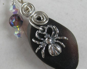 Spider Sea Glass Necklace - Dark Purple English Multi SeaGlass - Beach Bargain