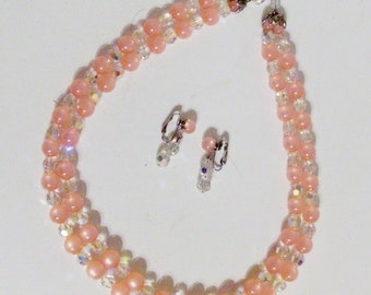 Pretty Pink Bead Necklace and Earring Set (Code r)