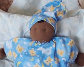 BABY'S FIRST DOLL...Brown Skinned Baby with Teddy Bear Print Flannel