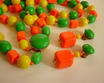 MOD  Necklace / Earring Set from the 60s Neon Citrus Candy