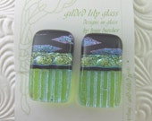 Lime Marquis Clip Earrings, Handmade Fused Glass Jewelry from North Carolina