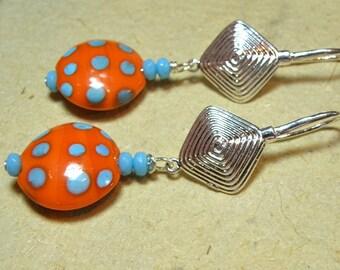 50% OFF SALE --- Orange and Sky Blue Polka Dot Lentil Lampwork Earrings