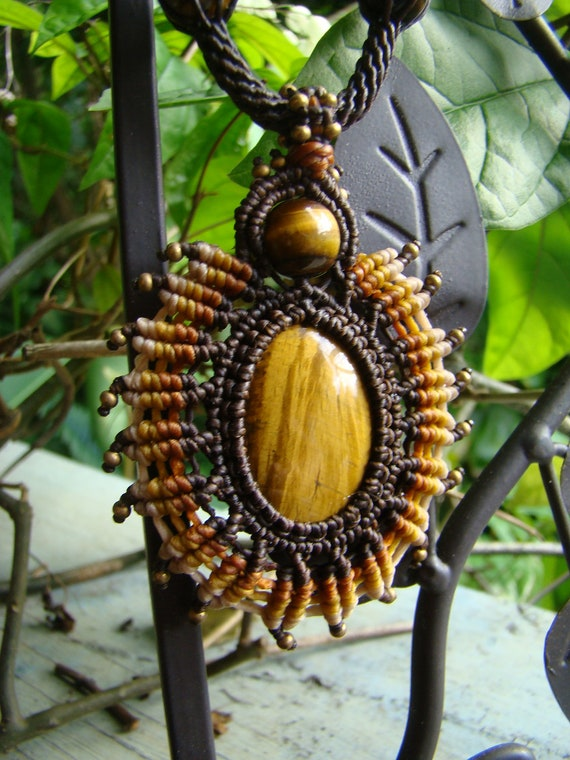 Tigers Eye Gemstone 'Sun Burst' Pendant / Necklace - Old time Sailor knot & weave Hand Made, Eco-friendly, Organic waxed Hemp Cord